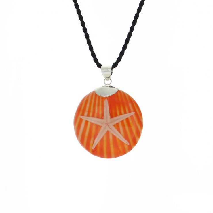 A photo of the Starfish over White and Tan Shell Pendant product
