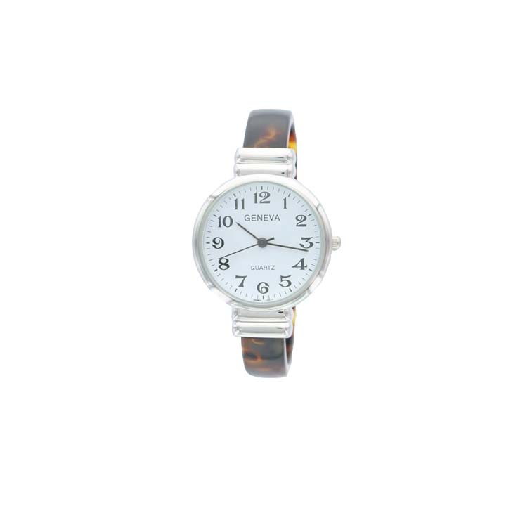 A photo of the Round Silver Face Tortoise Shell Cuff Watch product
