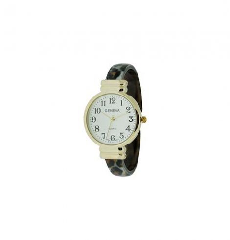 A photo of the Round Face Leopard Cuff Watch product