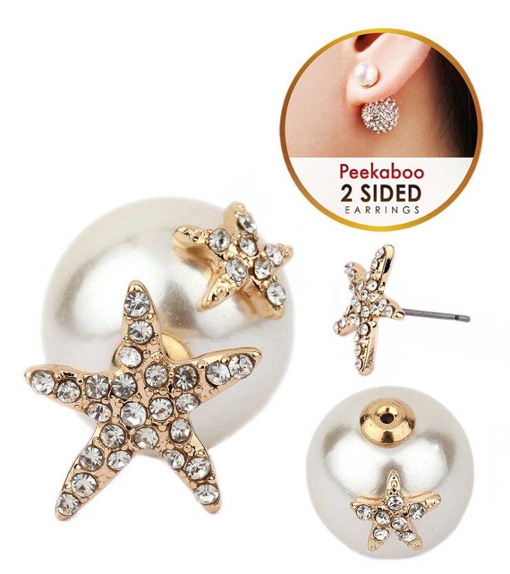 A photo of the Starfish Peekaboo Earrings product