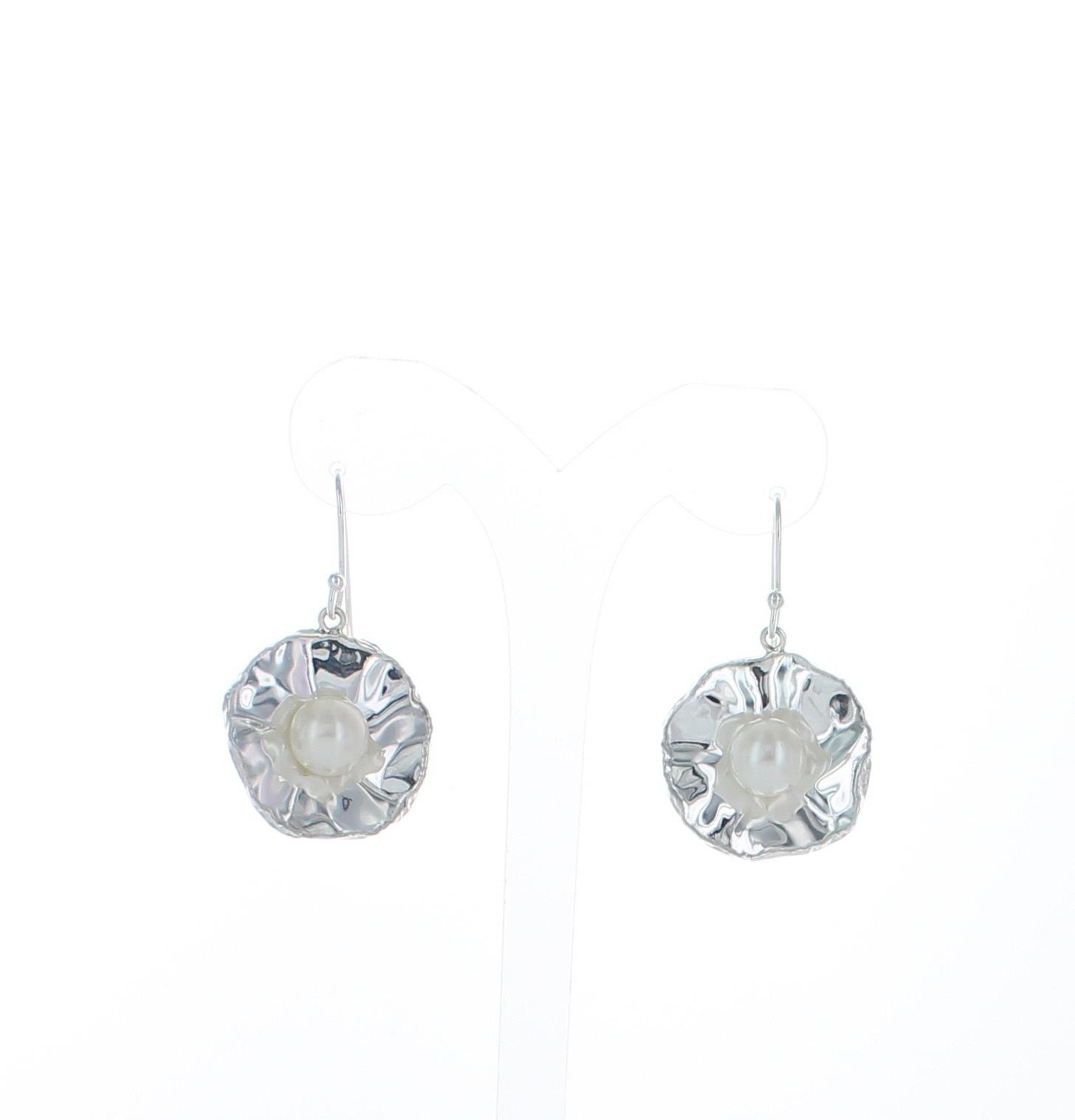 Sterling Silver Mother Of Pearl Flower Earrings