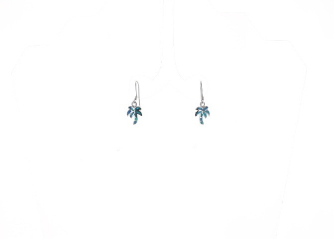 A photo of the Sterling Silver Opal Palm Tree Earrings product