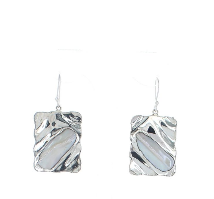A photo of the Sterling Silver Mother of Pearl Earrings product