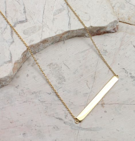 A photo of the Sterling Silver Bar Necklace product