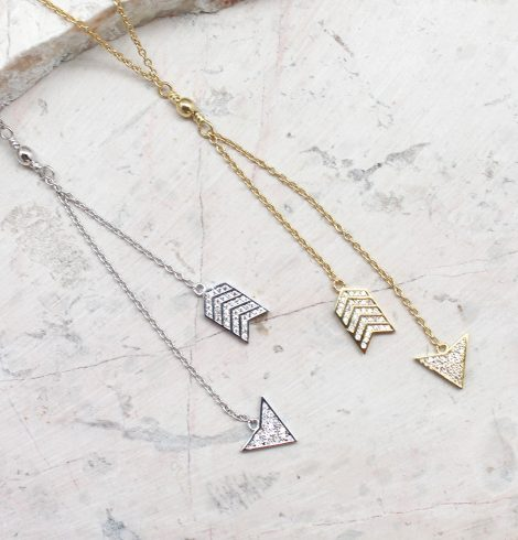 A photo of the Arrow Head and Tail Necklace product