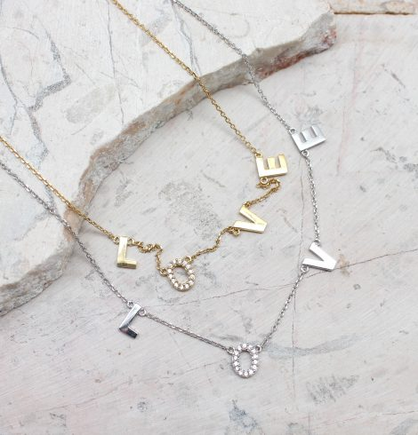 A photo of the Spell It Out Necklace product