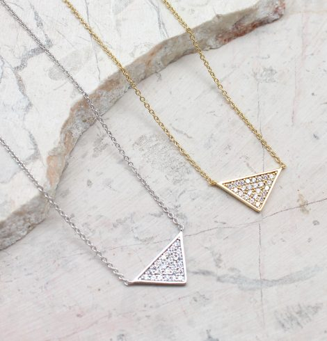 A photo of the Tiny Triangles Necklace product