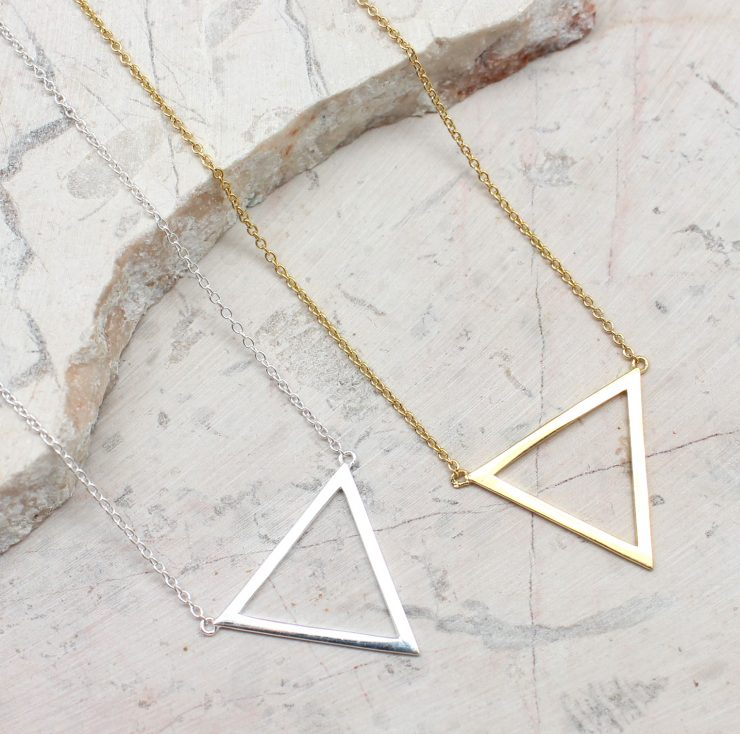 A photo of the Triangle Cut Out Necklace product