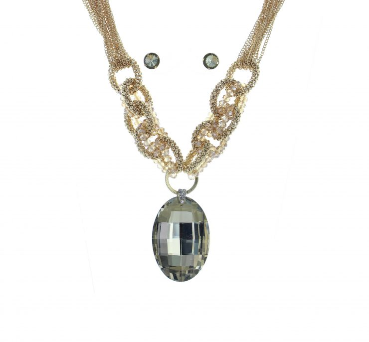 A photo of the Gold Chunky Gemstone Necklace product
