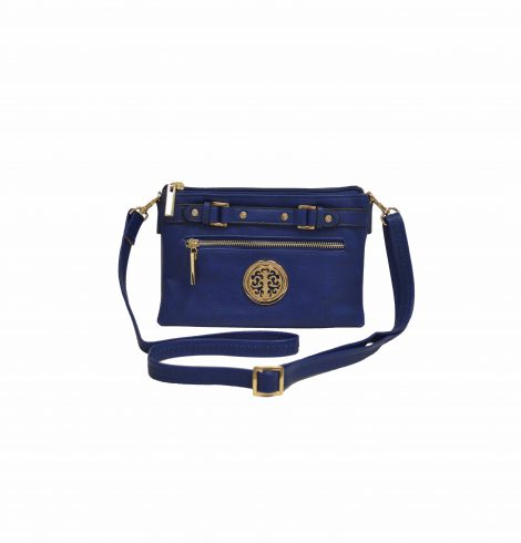 Navy Medallion and Buckle Shoulder Bag