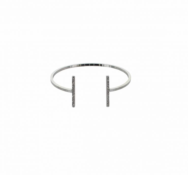 A photo of the Parallel Rhinestone Bars Bracelet product