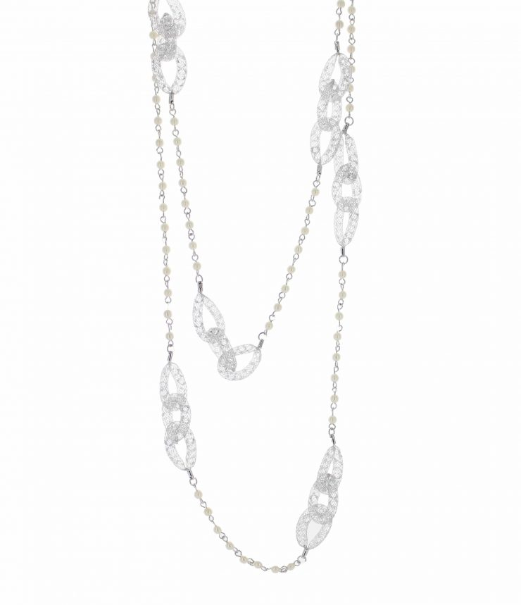A photo of the Pearl Beaded Statement Necklace product