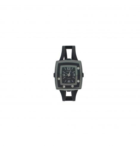 Black Square Face Metallic Watch