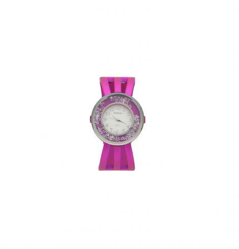 Fuchsia Round Crystal Watch