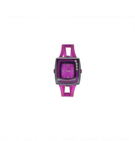 Fuchsia  Square Face Metallic Watch