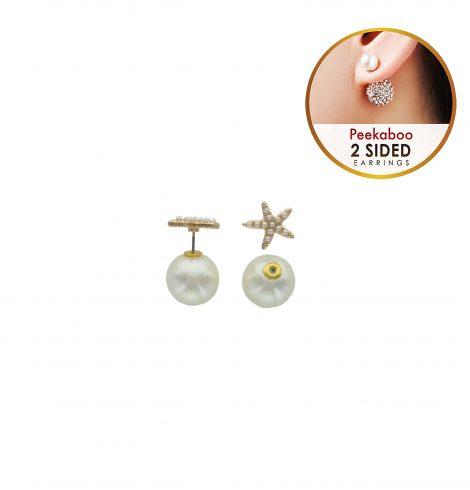 A photo of the Starfish Pearl Peekaboo Earrings product