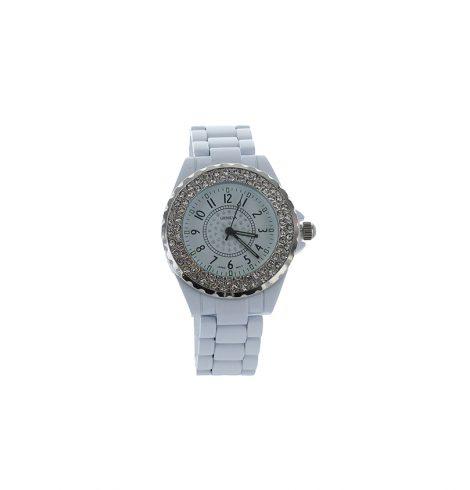 Large Face Rhinestone White Watch