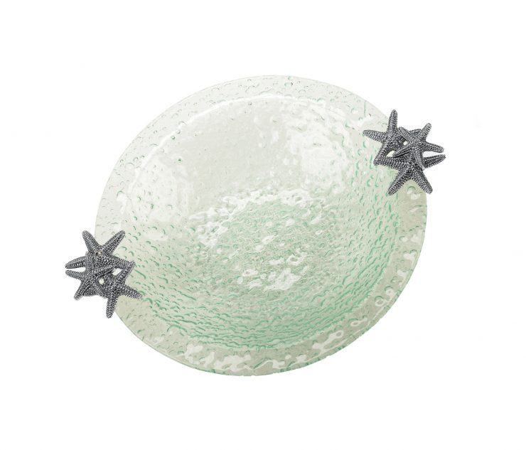 A photo of the Glass Salad Bowl With Starfish product