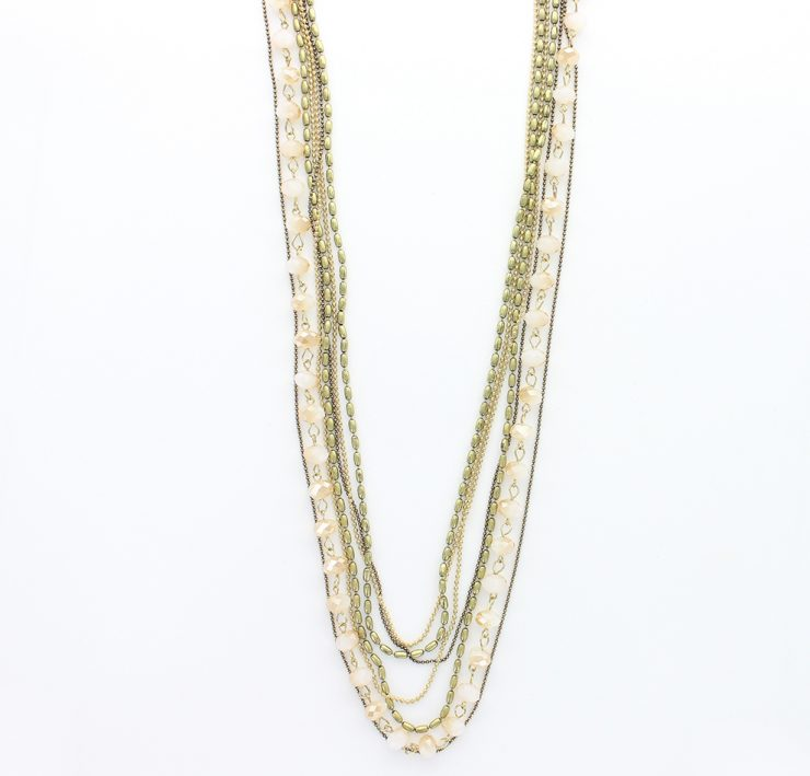 A photo of the Peachy Multi Strand Layered Long Necklace product