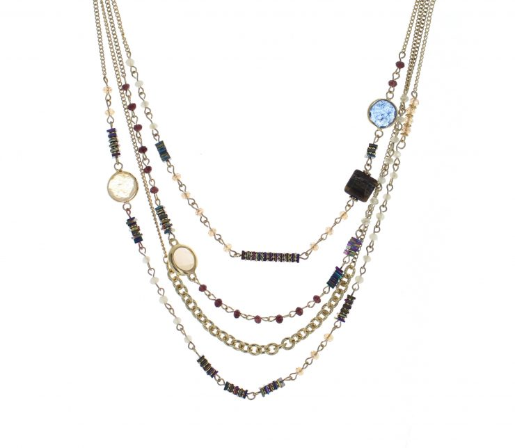 A photo of the Multi Strand Beaded Layered Necklace product