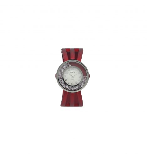 Red Round Crystal Watch