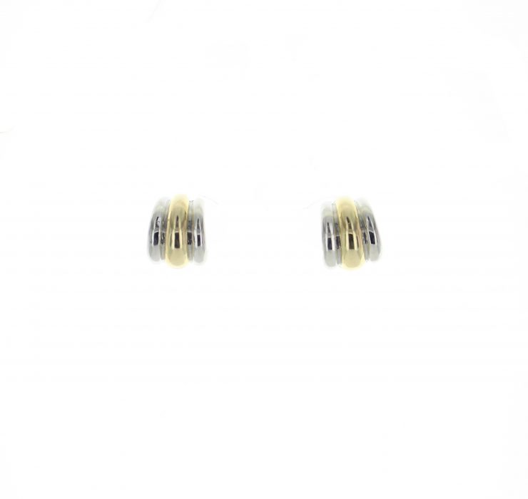 A photo of the Silver & Gold Pierce Clip Earrings product