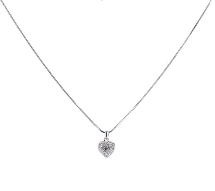 A photo of the Small Rhinestone Heart Necklace product