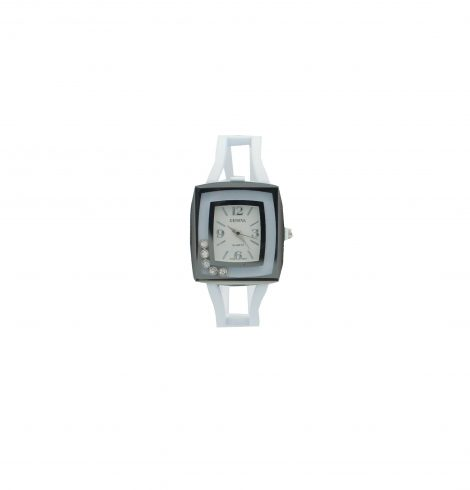 White  Square Face Metallic Watch