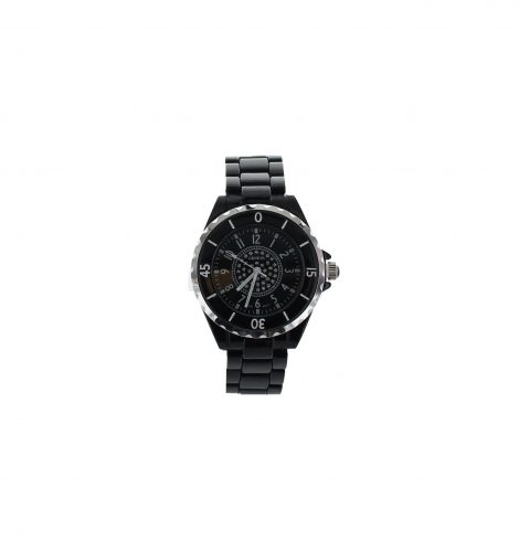 Large Face Black Link Watch