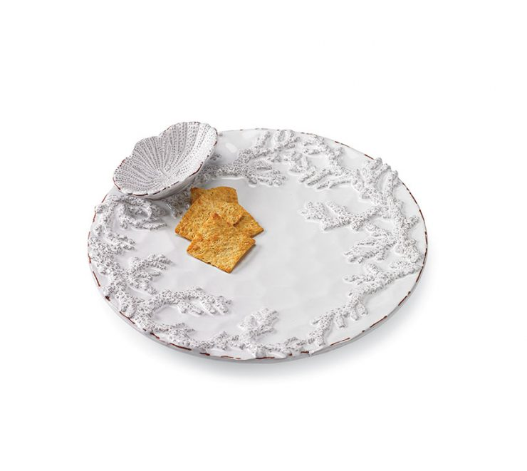 A photo of the Coral Embossed Chip and Dip Platter product