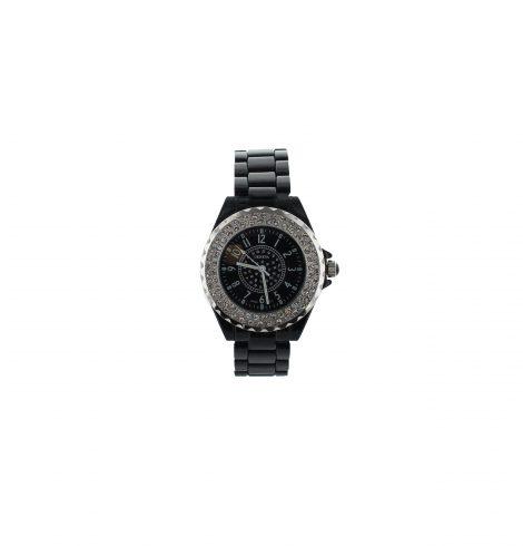 Large Face Rhinestone Black Watch