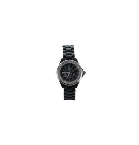 Small Face Rhinestone Black Link Watch