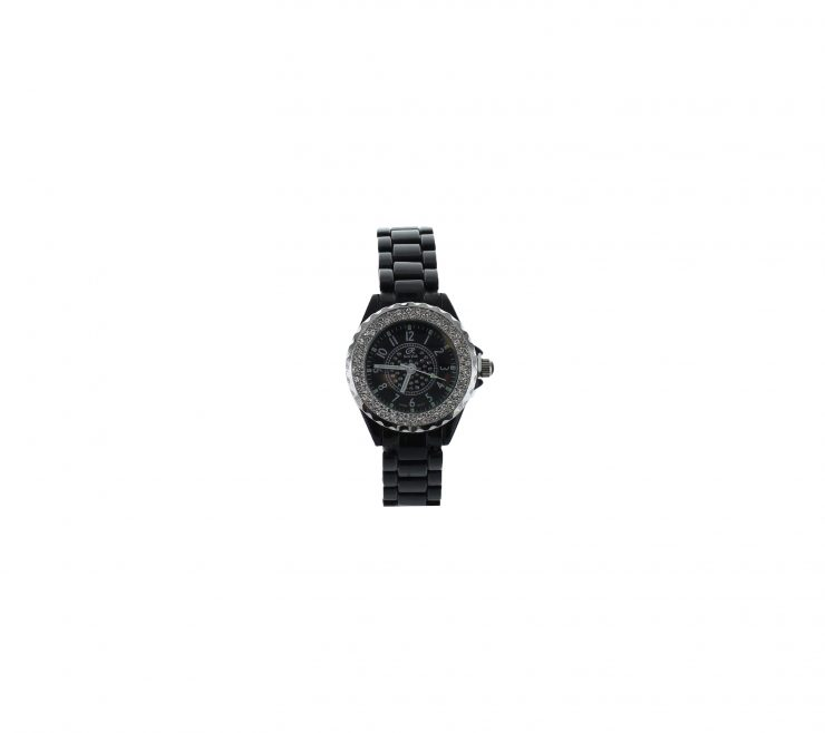 A photo of the Small White Face Black Link Watch product