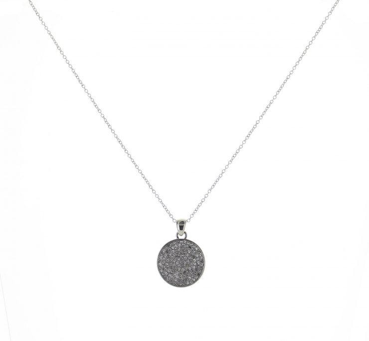 A photo of the Large Silver Rhinestone Coin Necklace product