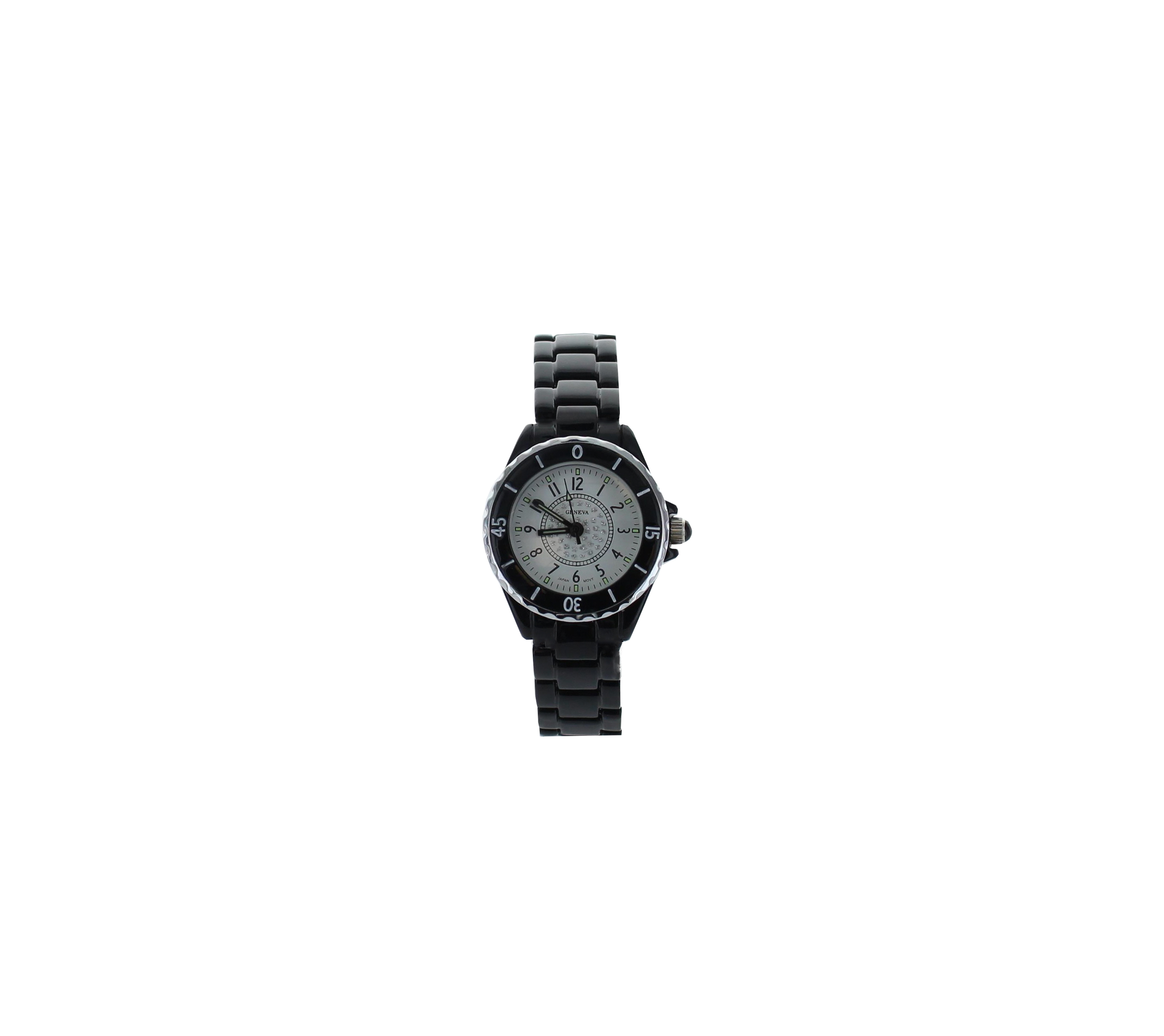 Small White Face Black Link Watch