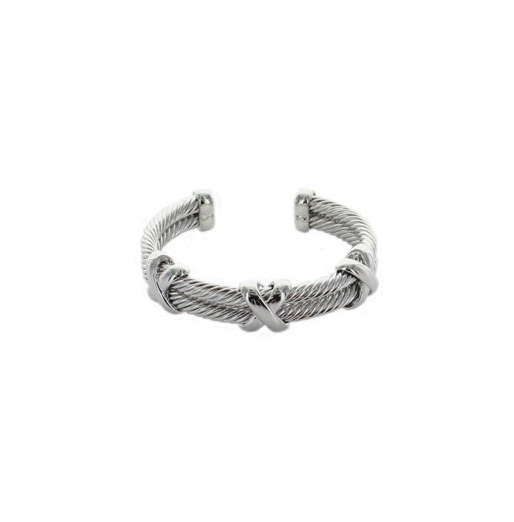 A photo of the Double Cable Silver X Cuff product