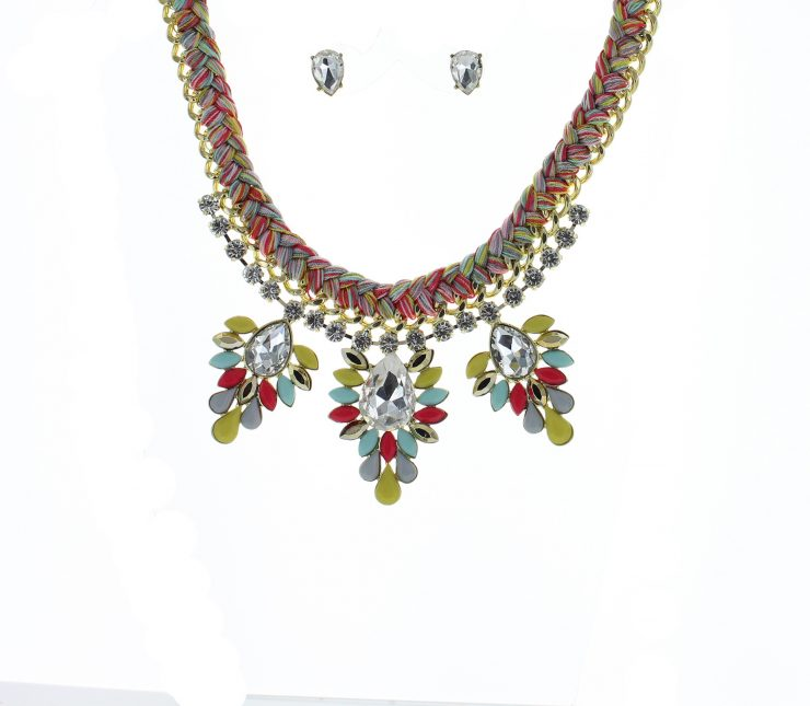 A photo of the Multicolor Woven Chain Statement Necklace product