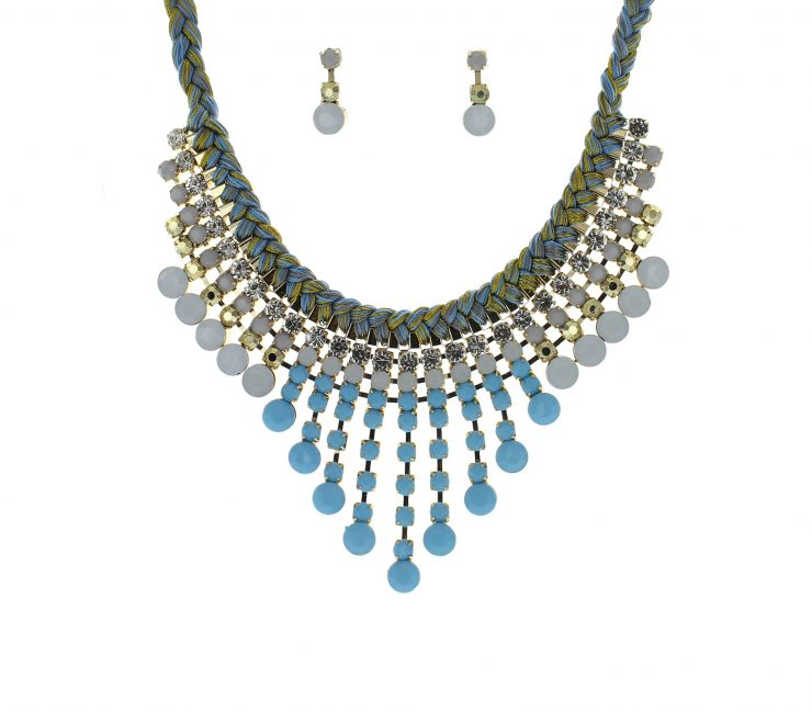 A photo of the Blue Yarn Bib Necklace product