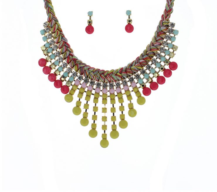A photo of the Multi Color Yarn Bib Necklace product