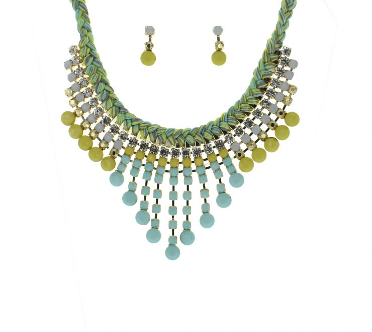 A photo of the Green Yarn Bib Necklace product
