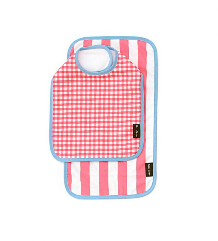 A photo of the Hot Pink Gingham Bib & Burpie Bundle product