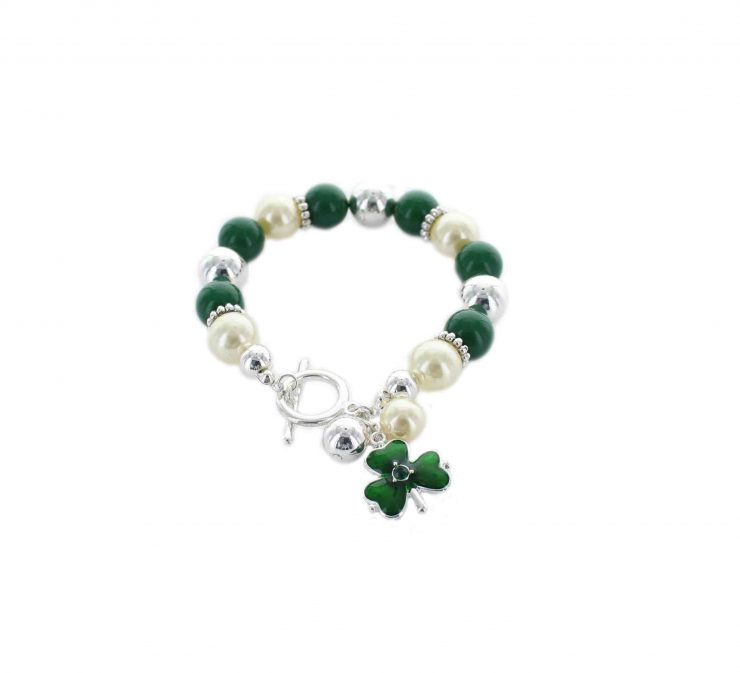 A photo of the St. Patricks Toggle Bar Bracelet product