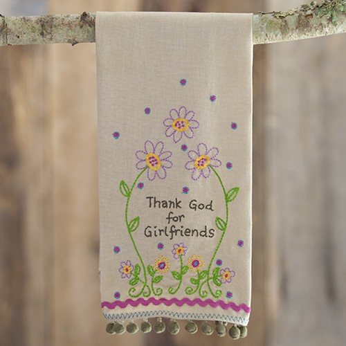 """A photo of the """"Thank God for Girlfriends"""" Linen Hand Towel product"""