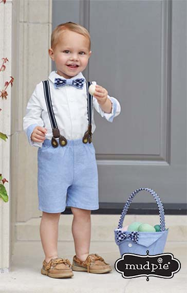 A photo of the Mudpie: Chambray 3 Piece Suspender Set product