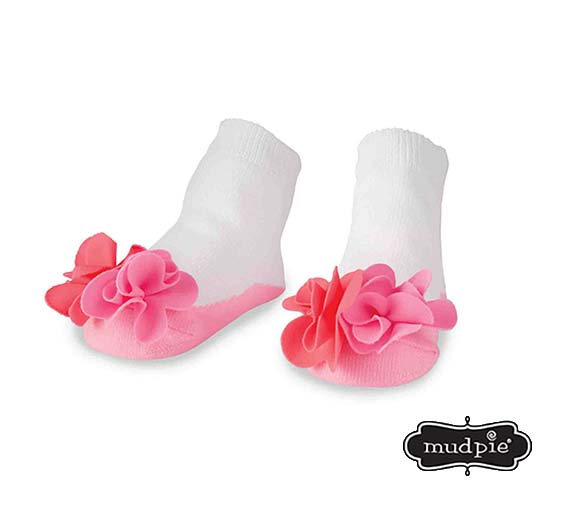 A photo of the Mudpie: Flower Puff Socks product