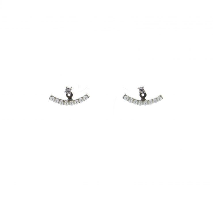 A photo of the Pearl Ear Jacket Peekaboo Earrings product