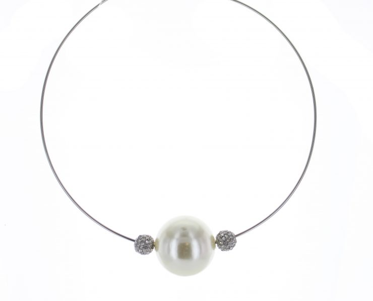 A photo of the Silver Pearl & Fireball Wire Necklace product