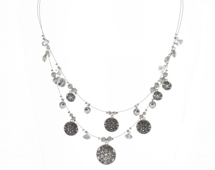 A photo of the Flower Coin Beaded Necklace product