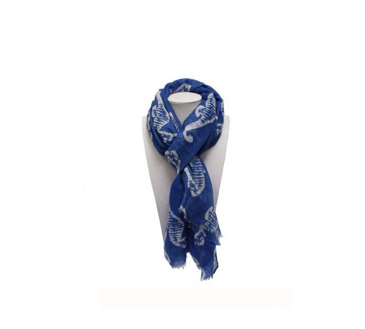 A photo of the Navy Seahorse Scarf product