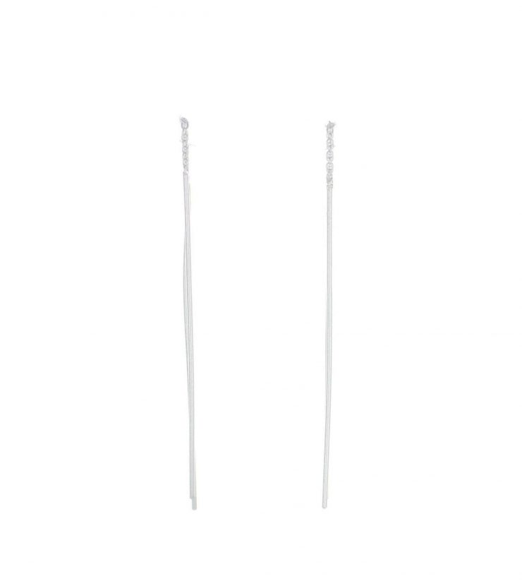 A photo of the Sterling Silver Bar Earrings product